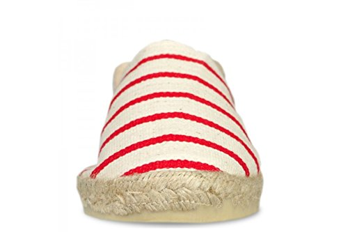 Espadrille homme rayée marinière rouge - fabrication artisanale made in pays basque france Ercu Rouge