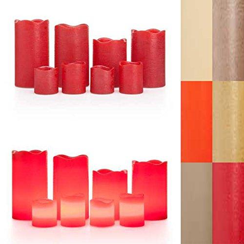 Rot Timer (LED Kerzen, 8er Set, Timer, 4 Stumpenkerzen, 4 Votivkerzen, Echtwachskerzen, 6 Farben (Rot Metallic) …)