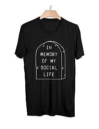 DFGTHRTHRT Camiseta En Memoria De Mi Vida Social Letra Punk Indie Lindo EMO para Mujer Camiseta