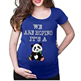 Camiseta de Las Mujeres Embarazadas Fotografia SHOBDW Blusa De Manga Corta Cuello Redondo Vestido De Maternidad Embarazada Panda De Dibujos Animados Imprimir Tops Talla Grande S-XXXL(Azul,L)