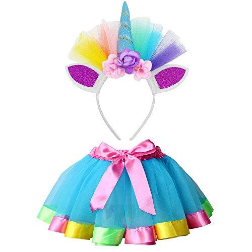 Vestito unicorno bambina vovotrade costume da ballo per ragazza 2 pezzi costume da ballo arcobaleno vestito carnevale bambina tutu a strati gonna + set di accessori per capelli