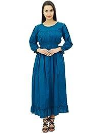 Bimba algodón batas vestido maxi largo ocasional de la cintura de las mujeres