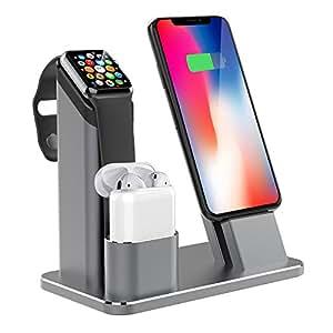Support pour Apple Watch 3 en 1 - Avec station de chargement en aluminium pour Apple Watch 3 / 2
