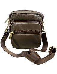 Petit sac sacoche homme en bandoulière portéépaule cuir de Vachette 13x12cm