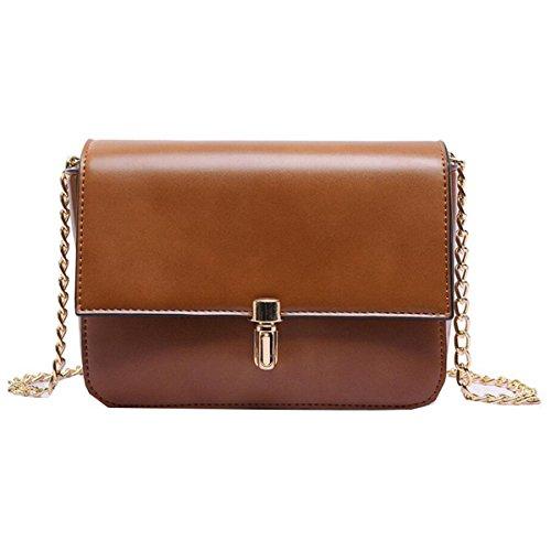WU Zhi Dame Retro Wild Temperament Umhängetasche Einfache Kette Tasche Messenger Bag Handtasche Brown