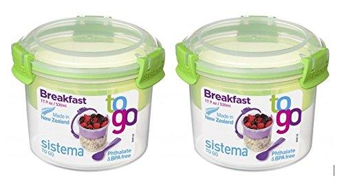 Müsli To Go SET, Aufbewahrungsbehälter für Lebensmittel mit Unterteilung, 2x530 ml, grün