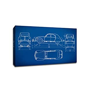 ArtsyCanvas Classic Car Gearhead Blueprint Art (Canvas), 24 x 16