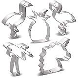 HONYAO Maskottchen Flamingo Einhorn Ausstechformen Set - 5 Stück - Flamingo L, Flamingo R, Einhorn Kopf, Ananas und Palme - Edelstahl
