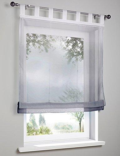 Preisvergleich Produktbild Voile Raffrollo mit Verlauf-Farben Muster Schlaufen Gardine Transparent Vorhang (BxH 60x140cm, grau)