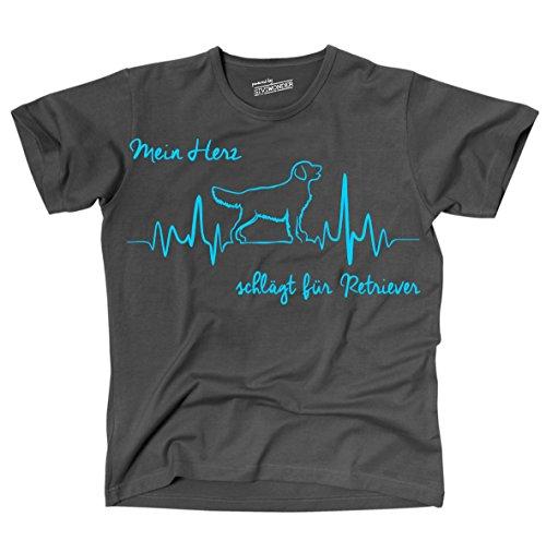 Siviwonder Unisex T-Shirt RETRIEVER - HERZ HEARTBEAT Hunde dark grey - türkis