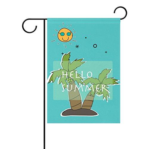 Duble Sided Hand Drawn Hello Summer Sun Palm Tree Happy Urlaub Sunshine Polyester HAUS GARTEN Flagge Banner 12x 18/71,1x 101,6cm für Hochzeit Party alle Wetter, Polyester, multi, 12x18 (Tree Palm Haus)