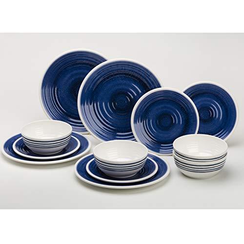 Melamin Geschirrset 12 Teile für 4 Personen blau-weiß • Campinggeschirr Geschirr Teller Picknick Camping