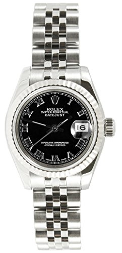 Rolex Ladys New Style Heavy Band Stainless Steel Datejust Model 179174 Jubilee Band 18K White Gold Fluted Bezel Black Roman Dial