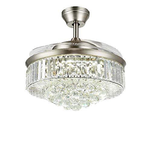 LY Ventiladores de techo de cristal con luces y control remoto, moderna araña retráctil invisible...