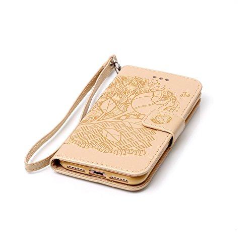 iPhone 7 4.7 Pollice PU Pelle Sbalzato Caso (con Gratuito Proteggi Schermo) KaseHom Rosa Fiore Farfalla Modello ProgettareSbalzatoStile del libroFoglioFlip MagneticoFunzione di Chiusura Standcon Oro # 4