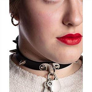 MB-Müller 81174-000-000 - Collar gótico con púas y candado, unisex, color negro