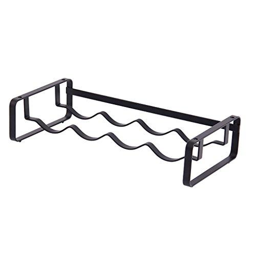 JJJJD Regal Schwarzes Schmiedeeisen Einschichtiges Tisch-Weinregal 4 Packungen, 41,5 * 20,4 * 9,6 cm -