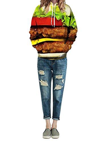 Minetom Damen Herren Mode 3D Digital Bedruckte Kapuzenpullover Unisex Lange Ärmel Pullover Sweatshirt Hoodies Tops Hamburger
