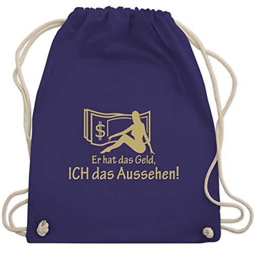 JGA Junggesellinnenabschied - Er hat das Geld - Ich das Aussehen - Unisize - Lila - WM110 - Turnbeutel & Gym Bag