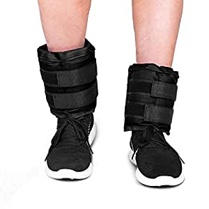 JBM Adjustable Ankle Weights Wrist Leg Weights Sand Filling 2.2lb 4.4lb 6.6lb 8.8lb 11lb 13.2lb 17.6lb 22lb (A Pair) Double Straps (Black, Total Weight: 8.8lb (4.4 lbs per Ankle))