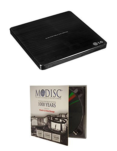 LG 8x SP60NB50 Ultra Slim Portable DVD Writer Bundle with 1 Pack M-Disc DVD - M-DISC Supported Mac OS X Compatible Black Retail Box  available at amazon for Rs.7196