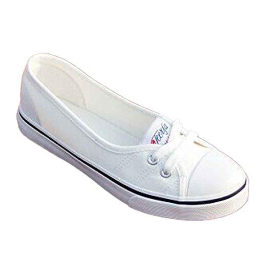Ba Zha Hei Damen Faul Bandagen Stoffschuhe Flacher Mund Einzelne Schuhe Frauen-Art- und Weiseleinwand-Ebenen-Müßiggänger-beiläufige Breathable Ebenen-Beleg-Schuhe Flache Schuhe (39, Weiß) Weiß Ebene