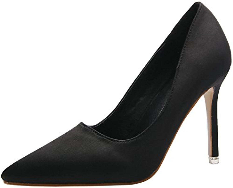 bigtree satin femmes stiletto chaussures chaussures à bouts pointus parent b0756tfx2x parent pointus burea u lad y co ur d231ac