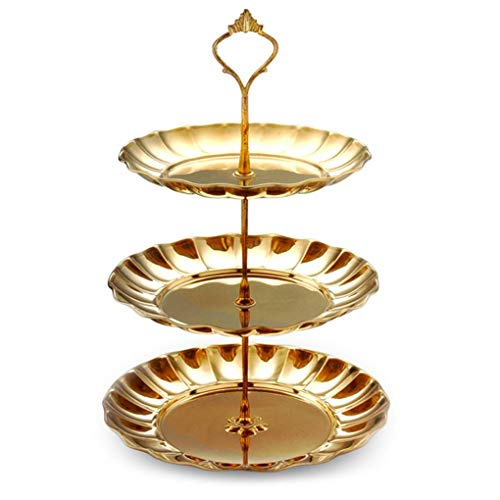 Fighting3-Tier-runde goldene Edelstahl-Frucht-Dessert Kuchen-Standplatz-Tee-Party-Servierplatte