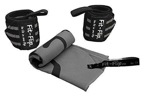 3er-Set, 2x Handgelenk-Bandagen + Mikrofaser Schweißtuch von Fit-Flip, in 6 Farben, Profi Handgelenkstütze in Premium Qualität für den robusten Einsatz