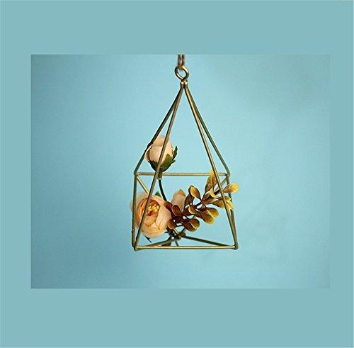 Géométrie en fer forgé quatre côtés peuvent être accrochés Torus en trois dimensions suspendus sol pot pot de fleur / stand de fleurs ( Taille : 7.5*16cm )