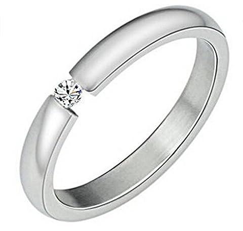 Aooaz Schmuck Unisex Ring,Intarsien CZ Edelstahl Ring Silber Schwarz