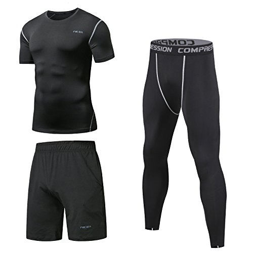 Niksa Mens Gym Sports Clothing Set,Compression Shirt Top Base Layers Running Workout Clothes(Short Sleeve(163515),M)