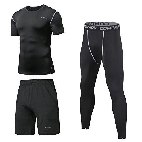 Niksa Sportbekleidung Herren Fitness Bekleidung Trainingsanzug 3pcs Set Fit elastische Sportwear Fitness Anzug Set Gym Yoga Kompressionsshirt Sporthose Leggings
