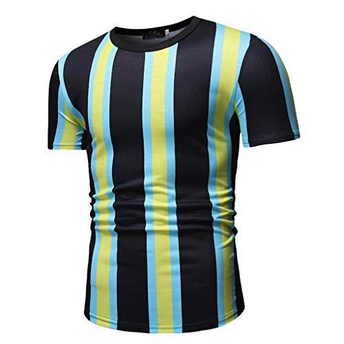 47b12ba3b QINGXIA_ZI T-Shirt à Col Rond, Décontracté à Rayures et à Manche Courte Été