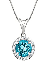 "Silvernshine 7mm Aquamarine & Sim Diamond Halo Pendant 18"" Chain In 14K White Gold Fn"