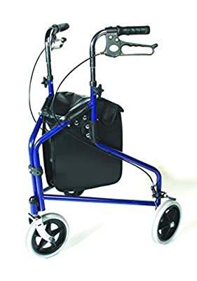 Days Tri Wheel Walker with Loop Lockable Brakes, Easy to Manoeuvre & Height Adjustable Limited Mobility Aid, Comfortable Hand Grips, Folds Flat for Storage (Eligible for Vat Relief in The UK)