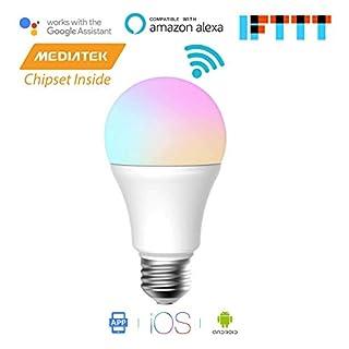 Meross Smart WLAN Dimmbare Glühbirne E27 Intelligente Mehrfarbige LED WiFi Lampe kompatibel mit Amazon Alexa, Echo, Echo Dot, Google Home und IFTTT, iOS & Android Smartphone Fernbedienung, kein Hub erforderlich