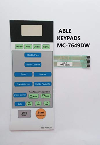 Microwave Oven Membrane Keypad ABLE Model No - MC7649D White