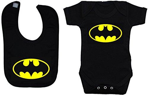 Bate bebé Pelele Body de//chaleco/camiseta y juego de baberos Batman negro 0A 12meses