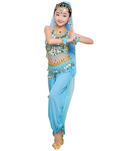 Anguang Mädchen Kinder Bauchtanz Kostüm Set Halloween Karneval Hosen Tanzkleidung Blauer See#5 2XL