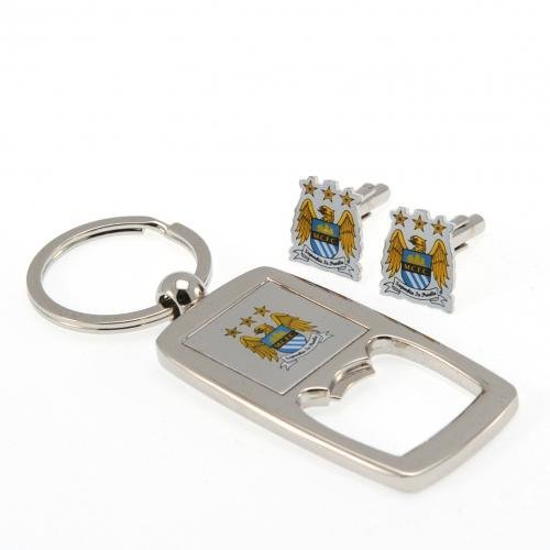 Manchester City F.C. Cufflinks and Keyring Bottle Opener Set Opener Set