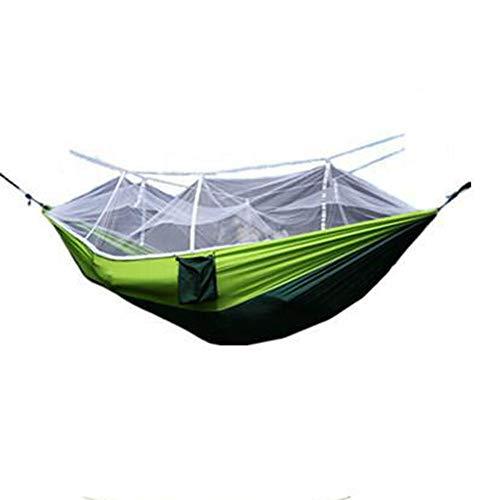 Erduo Tragbare Reise Outdoor Camping Hängematte Ultraleichte Schaukel Schlaf Hängende Bett mit Moskitonetz Abdeckung passen 2 Personen - Grün & Weiß (Outdoor-hängematte-schaukel-bett)
