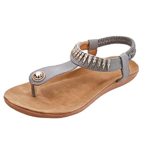 Bescita Flache Schuhe Bead Böhmen Freizeit Lady Peep-Toe Sandalen Outdoor Damenschuhe Grau