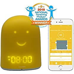UrbanHello REMI - Reveil Enfant Jour Nuit educatif, Sleep Trainer 5-en-1 - Suivi du Sommeil - Babyphone Audio avec Alerte Bruit - Veilleuse - Enceinte Bluetooth - Jaune