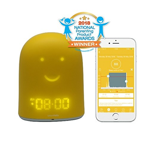 UrbanHello Remi–Despertador educativo para día o noche con seguimiento del sueño, vigilabebés con audio y alertas de ruido, 5-en-1, luz nocturna, altavoz Bluetooth, color amarillo