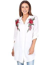KRISP® Femmes Tunique Type Chemise à Fleurs Brodées Tendance