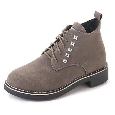 Rtry Femmes Chaussures Caoutchouc Automne En Combat Bottes Bottes Chunky Talon Bout Rond Lacets En Plein Air Kaki Noir Us6 / Eu36 / Uk4 / Cn36