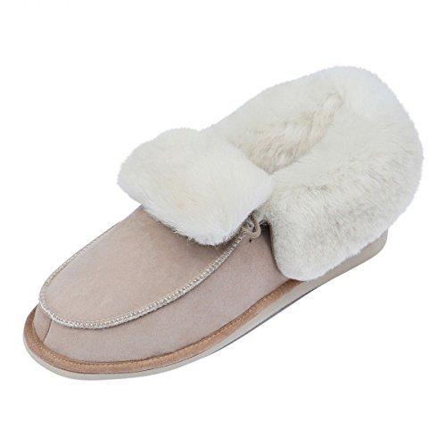 Peau de mouton Chaussons - MAX Homme Chaussures avec laine Beige/Blanc