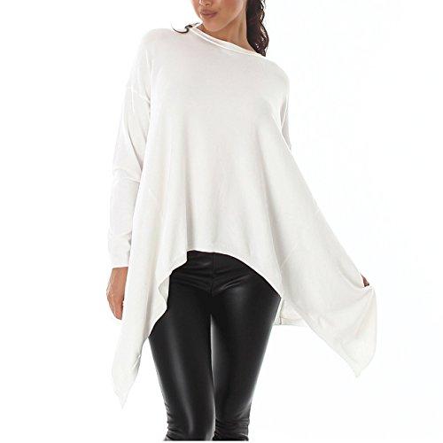 Damen Pullover Pulli Sweater Oversize Look Winter Rundhalsausschnitt Strick 36-42 Weiss