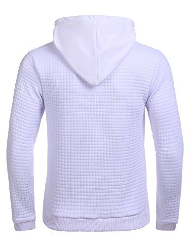 Modfine Herren Kapuzenpullover Langarmshirt Hoody Winter Kapuzenshirt Jumper Pullover Hoodie Sweatshirts Weiß